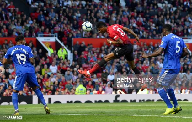 Marcus Rashford of Manchester United heads towards goal during the Premier League match between Manchester United and Cardiff City at Old Trafford on...