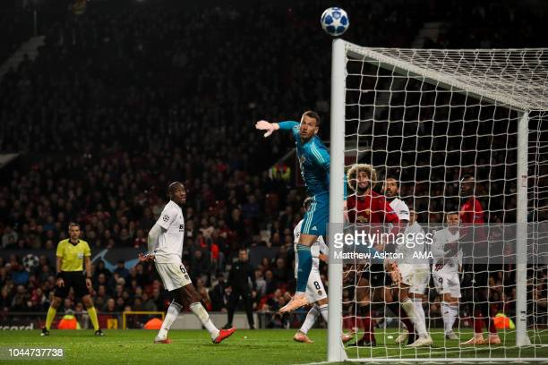 Marcus Rashford of Manchester United hits the cross bar from a free kick during the Group H match of the UEFA Champions League between Manchester...