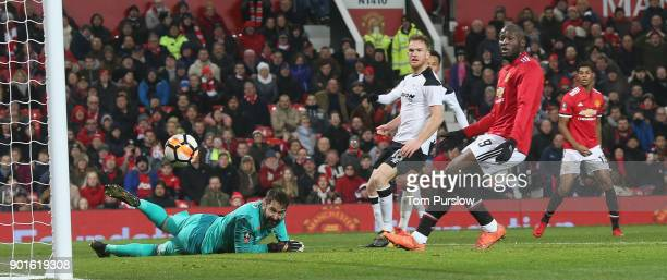 Marcus Rashford of Manchester United hits the post with a shot during the Emirates FA Cup Third Round match between Manchester United and Derby...