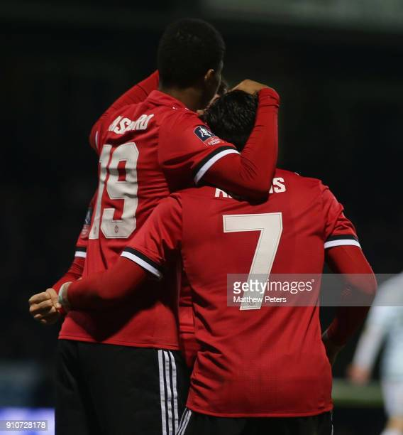 Marcus Rashford of Manchester United in action celebrates scoring their first goal during the Emirates FA Cup Fourth Round match between Yeovil Town...