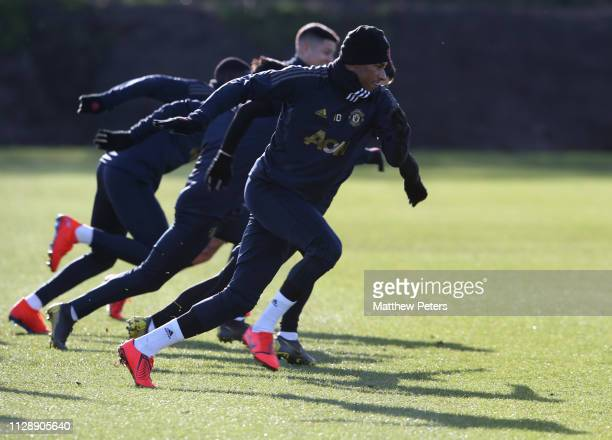Marcus Rashford of Manchester United in action during a first team training session at Aon Training Complex on February 11 2019 in Manchester England
