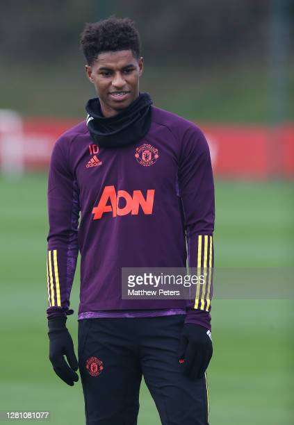 Marcus Rashford of Manchester United in action during a first team training session ahead of the UEFA Champions League Group H stage match between...