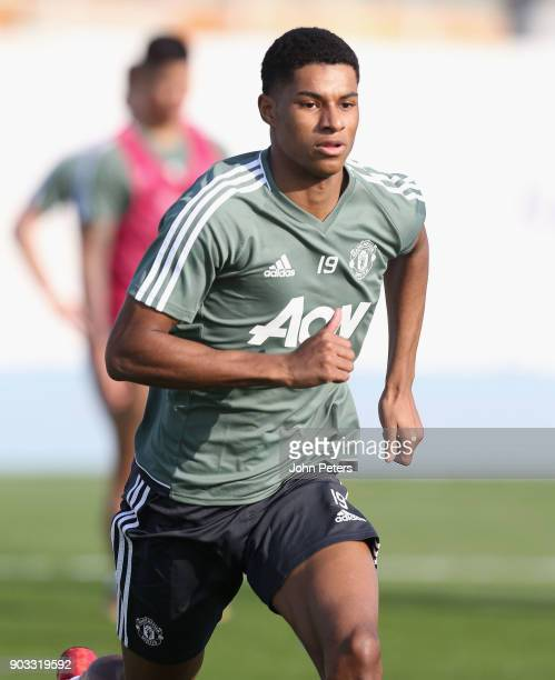 Marcus Rashford of Manchester United in action during a first team training session at Nad Al Sheba Sports Complex on January 10 2018 in Dubai United...