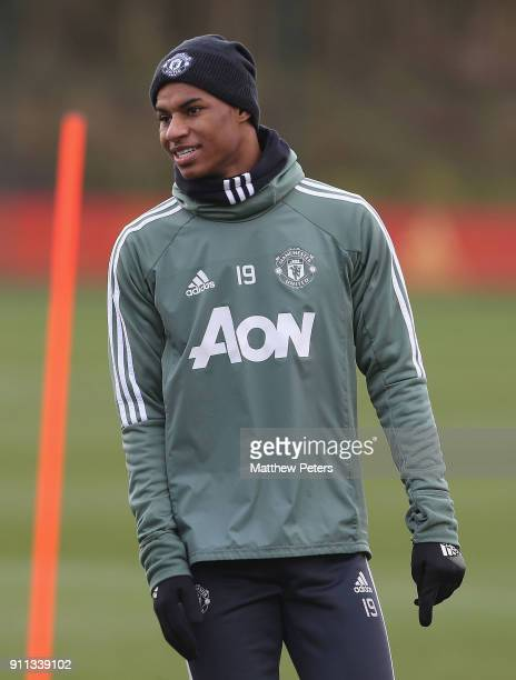Marcus Rashford of Manchester United in action during a first team training session at Aon Training Complex on January 28 2018 in Manchester England