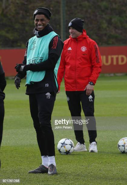 Marcus Rashford of Manchester United in action during a first team training session at Aon Training Complex on February 20 2018 in Manchester England