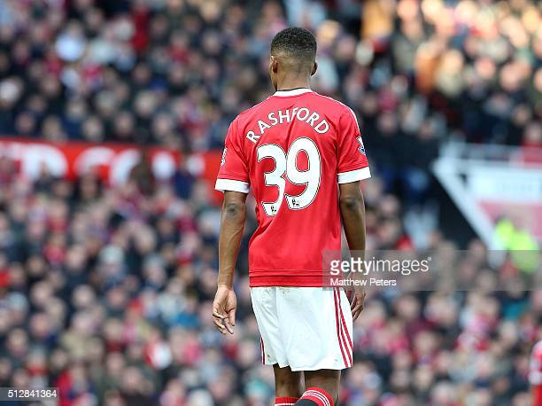 Marcus Rashford of Manchester United in action during the Barclays Premier League match between Manchester United and Arsenal at Old Trafford on...