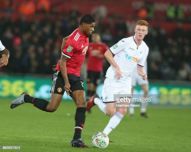 Marcus Rashford of Manchester United in action during the Carabao Cup Fourth Round match between Swansea City and Manchester United at Liberty...