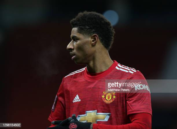 Marcus Rashford of Manchester United in action during the Emirates FA Cup Fourth Round match between Manchester United and Liverpool at Old Trafford...