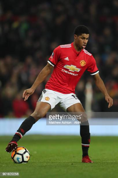 Marcus Rashford of Manchester United in action during the Emirates FA Cup Third Round match between Manchester United and Derby County at Old...