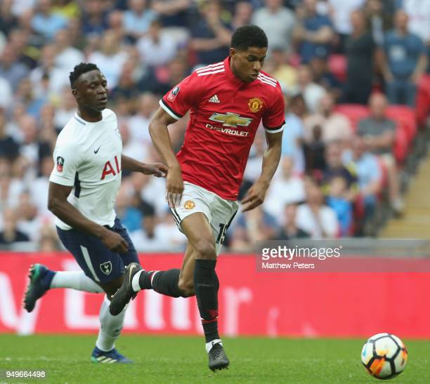 Marcus Rashford of Manchester United in action during the Emirates FA Cup semifinal match between Manchester United and Tottenham Hotspur at Wembley...