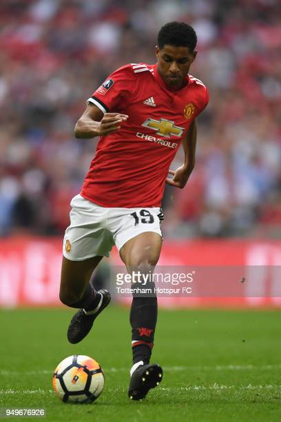 Marcus Rashford of Manchester United in action during The Emirates FA Cup Semi Final between Manchester United and Tottenham Hotspur at Wembley...