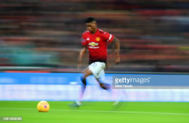Marcus Rashford of Manchester United in action during the Premier League match between Tottenham Hotspur and Manchester United at Wembley Stadium on...