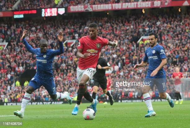 Marcus Rashford of Manchester United in action during the Premier League match between Manchester United and Chelsea FC at Old Trafford on August 11...