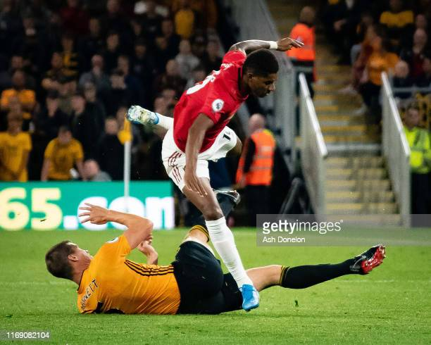 Marcus Rashford of Manchester United in action during the Premier League match between Wolverhampton Wanderers and Manchester United at Molineux on...