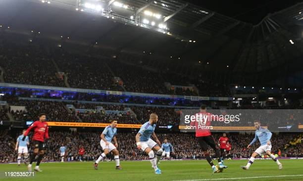 Marcus Rashford of Manchester United in action during the Premier League match between Manchester City and Manchester United at Etihad Stadium on...