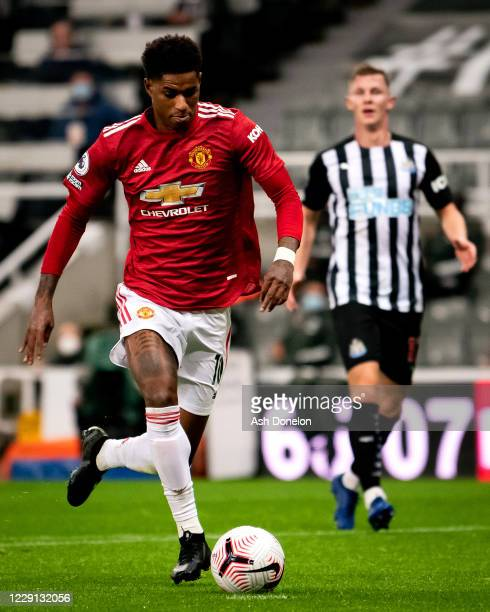 Marcus Rashford of Manchester United in action during the Premier League match between Newcastle United and Manchester United at St James Park on...