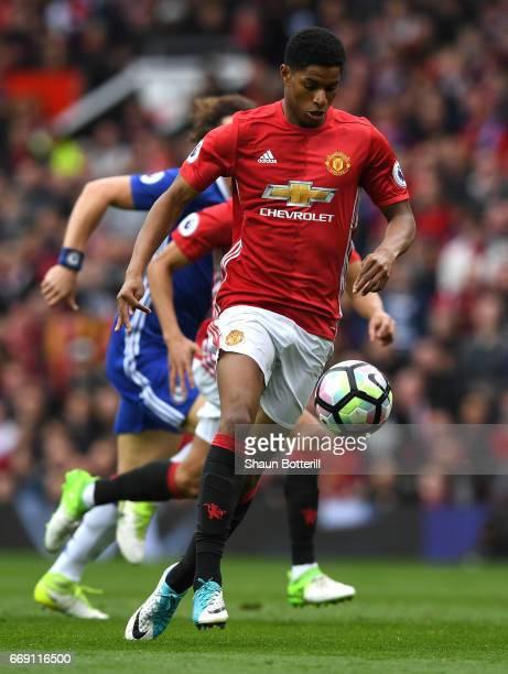 Marcus Rashford of Manchester United in action during the Premier League match between Manchester United and Chelsea at Old Trafford on April 16 2017...