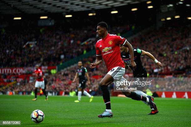 Marcus Rashford of Manchester United in action during the Premier League match between Manchester United and Crystal Palace at Old Trafford on...
