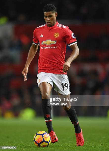 Marcus Rashford of Manchester United in action during the Premier League match between Manchester United and Manchester City at Old Trafford on...
