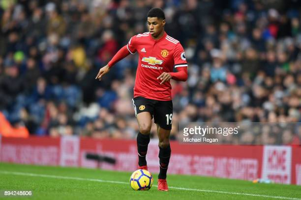 Marcus Rashford of Manchester United in action during the Premier League match between West Bromwich Albion and Manchester United at The Hawthorns on...