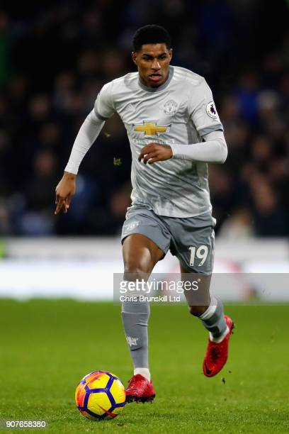 Marcus Rashford of Manchester United in action during the Premier League match between Burnley and Manchester United at Turf Moor on January 20 2018...