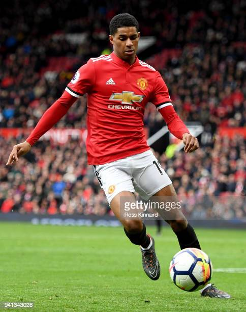 Marcus Rashford of Manchester United in action during the Premier League match between Manchester United and Swansea City at Old Trafford on March 31...