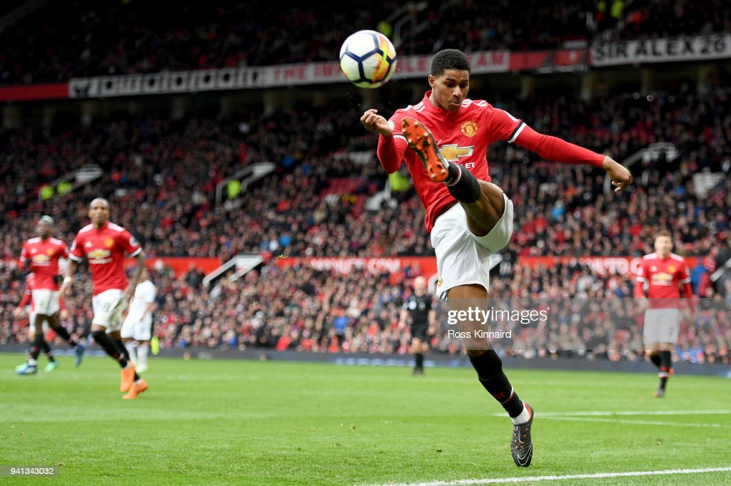 Marcus Rashford of Manchester United in action during the Premier League match between Manchester United and Swansea City at Old Trafford on March 31, 2018 in Manchester, England.