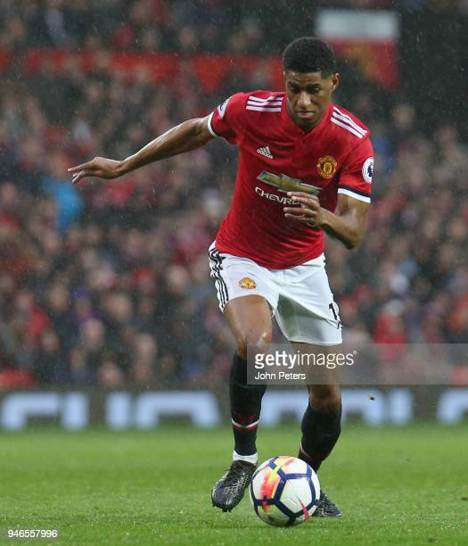 Marcus Rashford of Manchester United in action during the Premier League match between Manchester United and West Bromwich Albion at Old Trafford on...