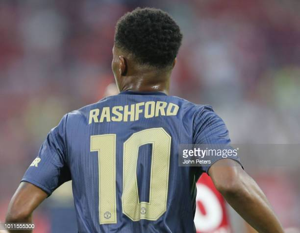 Marcus Rashford of Manchester United in action during the preseason friendly match between Bayern Munich and Manchester United at Allianz Arena on...