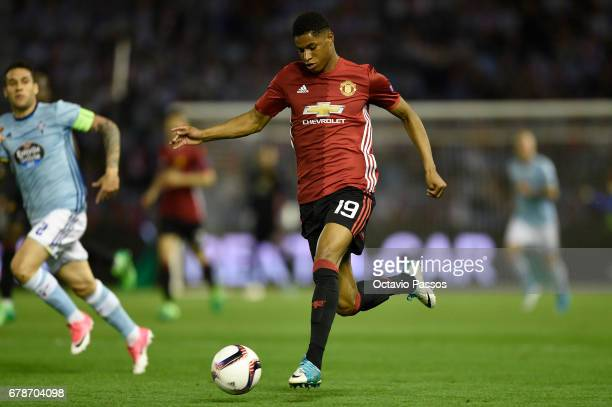 Marcus Rashford of Manchester United in action during the UEFA Europa League semi final first leg match between Celta Vigo and Manchester United at...