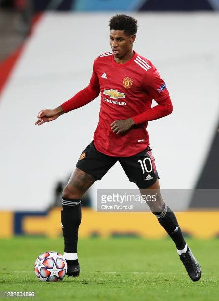 Marcus Rashford of Manchester United in action during the UEFA Champions League Group H stage match between Manchester United and RB Leipzig at Old...