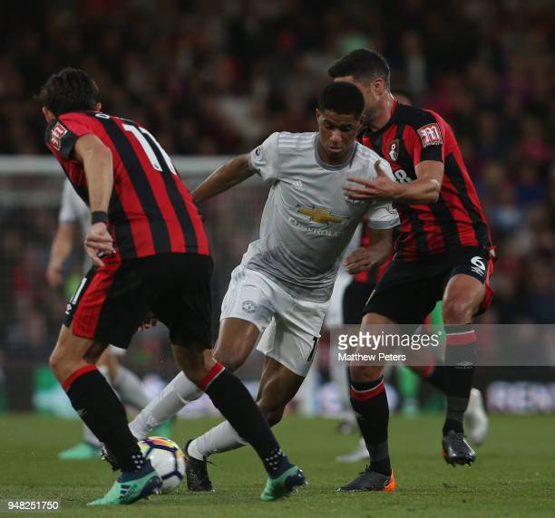 Marcus Rashford of Manchester United in action with Andrew Surman of AFC Bournemouth during the Premier League match between AFC Bournemouth and...