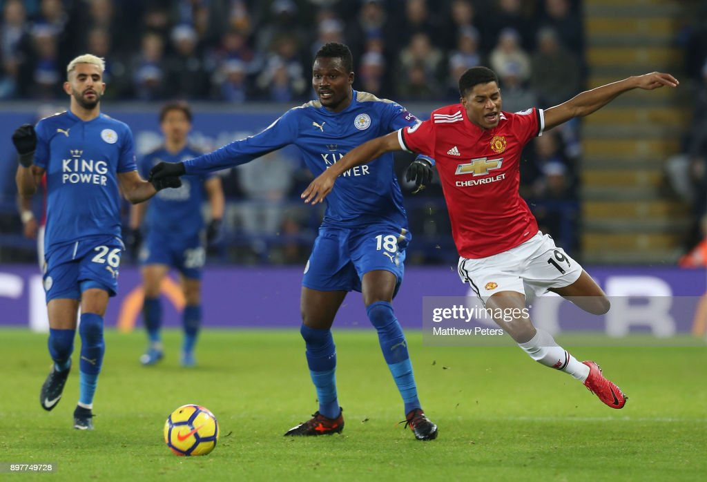 Marcus Rashford of Manchester United in action with Daniel Amartey of Leicester City during the Premier League match between Leicester City and Manchester United at The King Power Stadium on December 23, 2017 in Leicester, England.