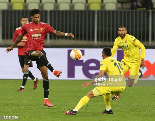 Marcus Rashford of Manchester United in action with Francis Coquelin of Villareal CF during the UEFA Europa League Final between Villarreal CF and...