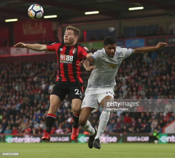 Marcus Rashford of Manchester United in action with Ryan Fraser of AFC Bournemouth during the Premier League match between AFC Bournemouth and...