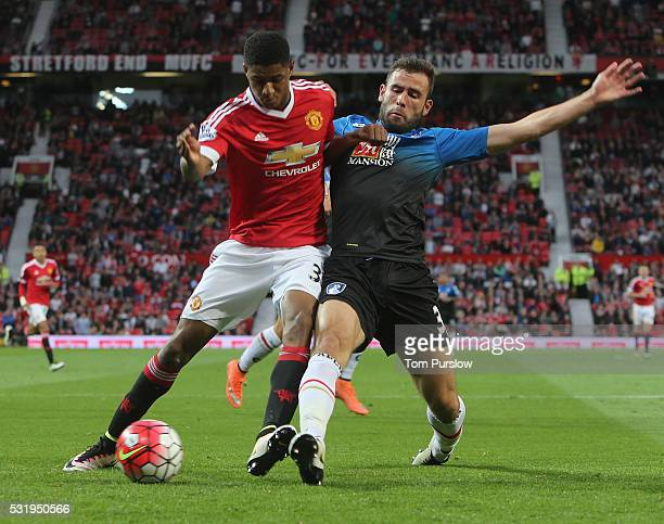 Marcus Rashford of Manchester United in action with Steve Cook of AFC Bournemouth during the Barclays Premier League match between Manchester United...