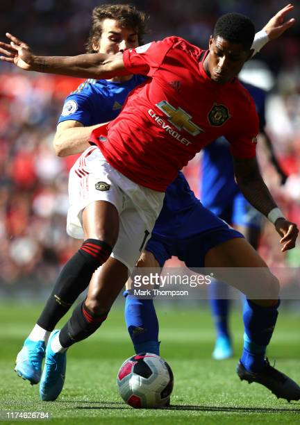 Marcus Rashford of Manchester United is fouled by Caglar Soyuncu of Leicester City inside the penalty area leading to Manchester United being awarded...