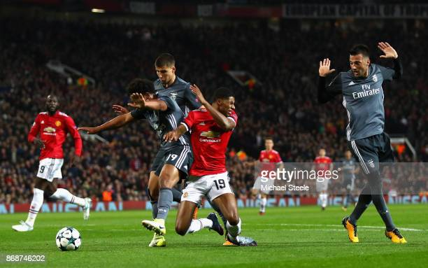 Marcus Rashford of Manchester United is fouled leading to a penalty during the UEFA Champions League group A match between Manchester United and SL...