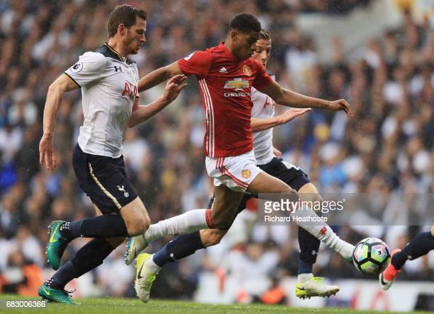 Marcus Rashford of Manchester United is put under pressure from Jan Vertonghen of Tottenham Hotspur during the Premier League match between Tottenham...