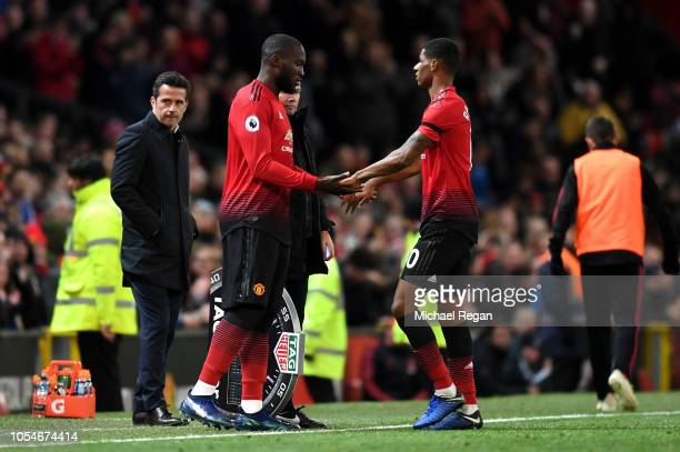 Marcus Rashford of Manchester United is substituted for Romelu Lukaku during the Premier League match between Manchester United and Everton FC at Old...