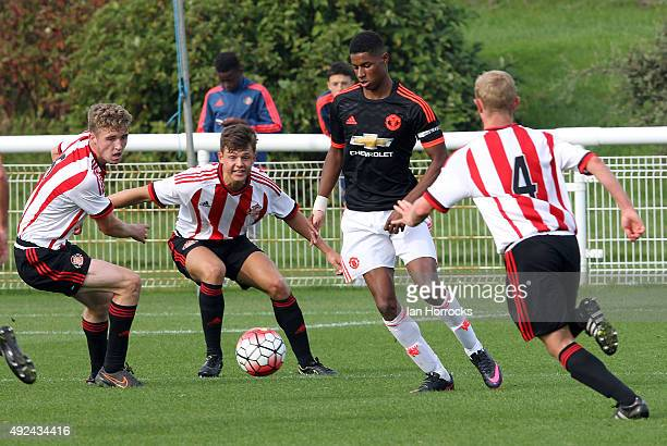 Marcus Rashford of Manchester United is surrounded by Sunderland players during the U18 Premier League match between Sunderland and Manchester United...