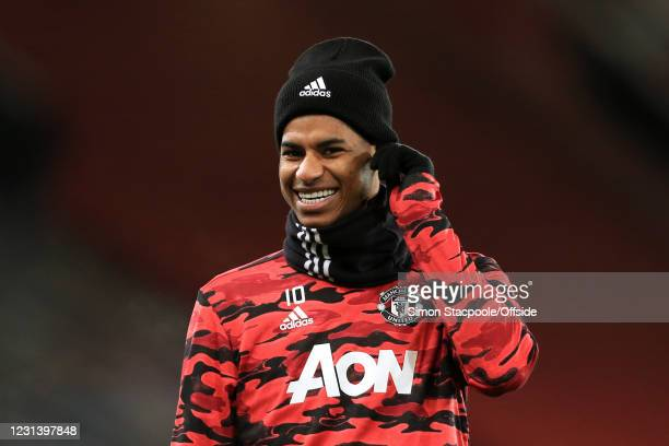 Marcus Rashford of Manchester United laughs and smiles before the UEFA Europa League Round of 32 Leg Two match between Manchester United and Real...