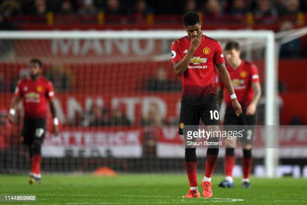 Marcus Rashford of Manchester United looks dejected during the Premier League match between Manchester United and Manchester City at Old Trafford on...