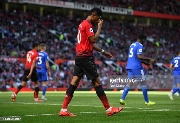 Marcus Rashford of Manchester United looks dejected during the Premier League match between Manchester United and Cardiff City at Old Trafford on May...