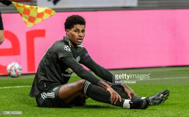 Marcus Rashford of Manchester United looks dejected during the UEFA Champions League Group H stage match between RB Leipzig and Manchester United at...
