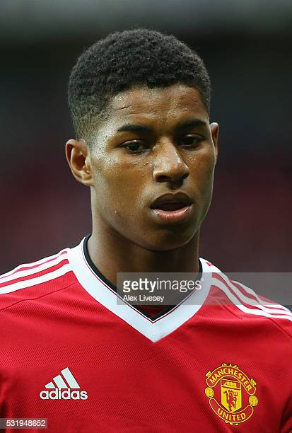 Marcus Rashford of Manchester United looks on during the Barclays Premier League match between Manchester United and AFC Bournemouth at Old Trafford...