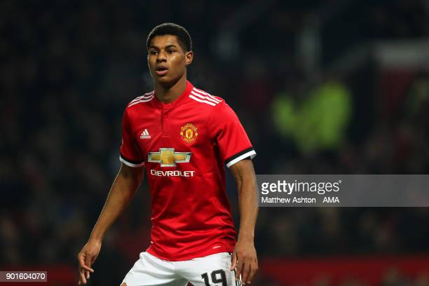 Marcus Rashford of Manchester United looks on during the Emirates FA Cup Third Round match between Manchester United and Derby County at Old Trafford...