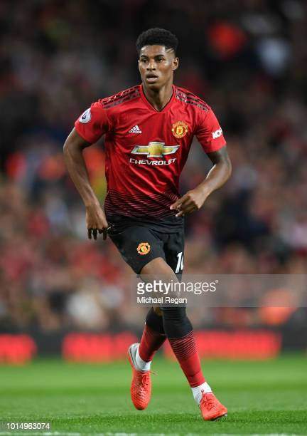 Marcus Rashford of Manchester United looks on during the Premier League match between Manchester United and Leicester City at Old Trafford on August...