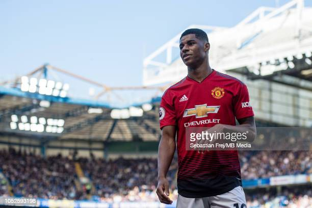 Marcus Rashford of Manchester United looks on during the Premier League match between Chelsea FC and Manchester United at Stamford Bridge on October...