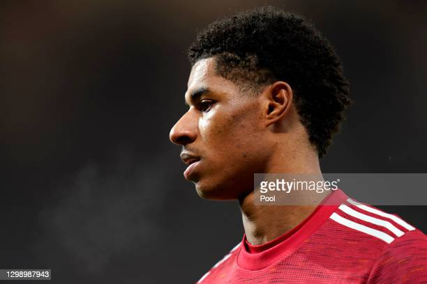 Marcus Rashford of Manchester United looks on during the Premier League match between Manchester United and Sheffield United at Old Trafford on...